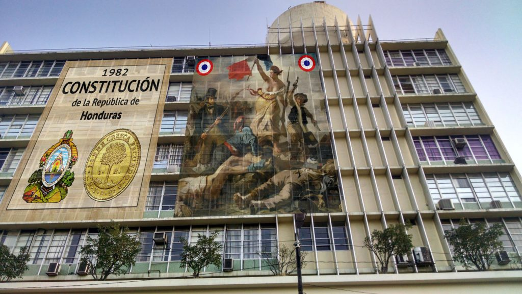 Tegucigalpa patriotic banner for republican democracy and the constitution of 1982
